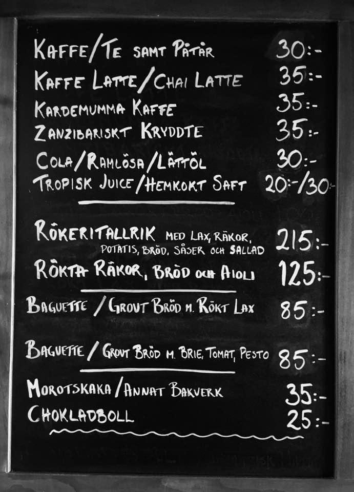 meny café Zanzibar Annelie Utter